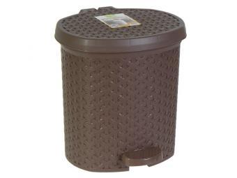 Контейнер для мусора 12л плетеный коричневый педал