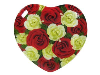 Блюдо стеклянное Сердце Садовые розы 25, 4 см