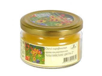Свеча в банке с крышкой 6*8,5 см Альпийские цветы