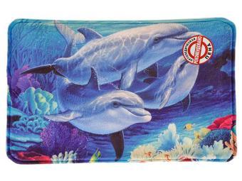 Коврик 40*60 флис ортопед. пена Дельфины