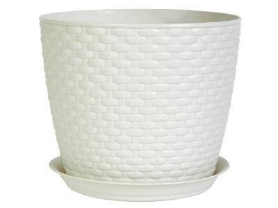 Кашпо Ротанг 1л с поддоном (белый ротанг) М-пластика