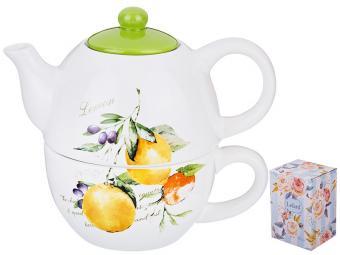 Набор чайный ''Итальянские лимоны'' 2пр чайник 380мл и чашка 350мл