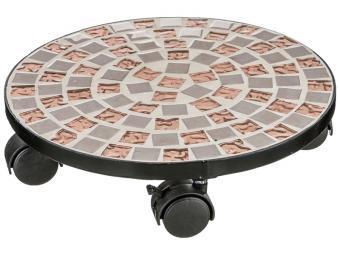 Подставка для цветов напольная на колесиках ''Мозаика'' 30*30*7см