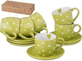 Чайный набор Горошек на зеленом 220мл 12пр на 6 персон