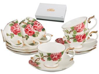 Чайный набор Розы рельефные 250мл 12пр на 6 персон Lefard
