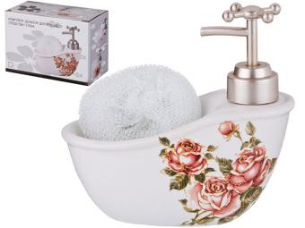 Дозатор для моющего средства с губкой Корейская роза 300мл 755-198