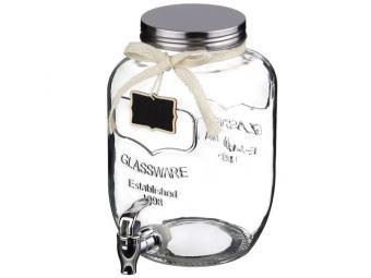 Диспенсер бочонок стеклянный с краником 5л для напитков 15*23*27см