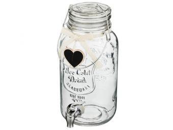 Диспенсер бочонок стеклянный с краником 4л для напитков 14*18*32см