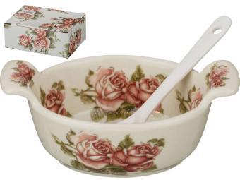 Солонка с ложкой ''Корейская роза'' 11*7*3см