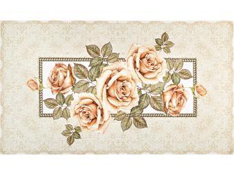 Полотенце ''Корейская роза'' 40*70см, кремовый 100% хлопок, твилл, букет