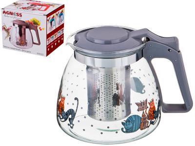Чайник заварочный с фильтром ''Коты'' 900 мл Арти-М