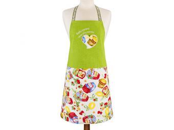 Фартук ''Бабулечка-красотулечка'', зелёный+цветы, 100% х\б, вышивка