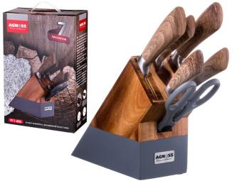 Набор ножей 6пр с ручкой soft touch на деревянной подставке