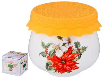 Баночка для меда и варенья с силиконовой крышкой ''Пуансетия'' 180мл