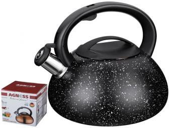 Чайник 3л со свистком нжс с покрытием Мрамор