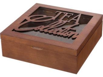 Шкатулка для чая ''Tea collection'' коричневая 9 секций 24*24*8см