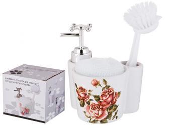Дозатор для моющего средства с губкой Корейская роза 13*11*10см 350мл