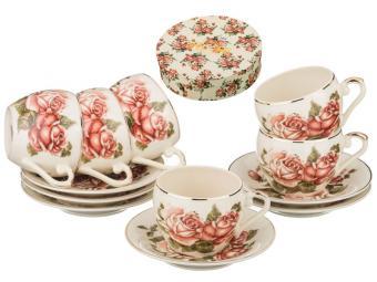 Кофейный набор Корейская роза 12пр 6 персон 100мл