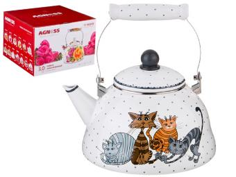 Чайник 3л эмалированный Озорные коты