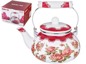 Чайник 2,5л эмалированный Корейская роза