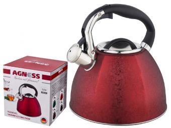 Чайник 3л со свистком Красный индукционное дно