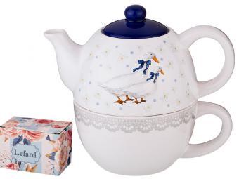 Чайный набор 2пр ''Чешский гусь'' чайник 380мл и чашка 350мл
