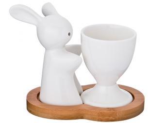 Подставка для яйца и солонка Кролик на бамбуковой подставке