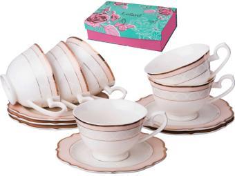 Чайный набор Розовый крем 12 пр 6 персон 210мл
