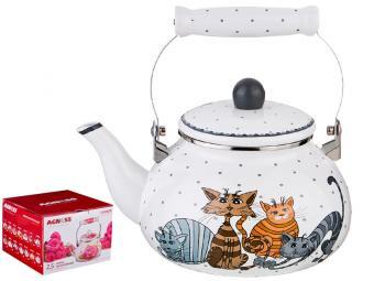 Чайник 2,5л эмалированный Озорные коты Agness