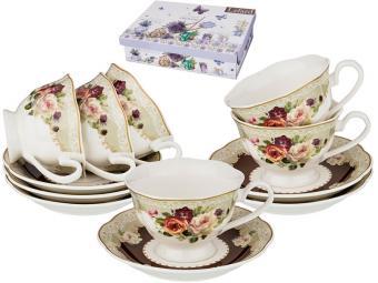 Чайный набор 12пр 6 персон 200мл Розы шоколад