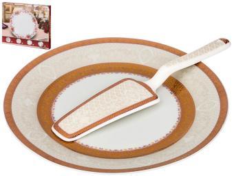 Блюдо для торта с лопаткой 23см 389-524