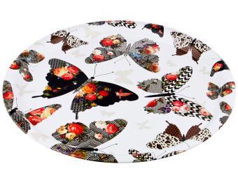 Поднос стальной 40см Бабочки Agness