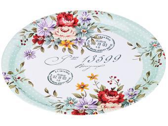 Поднос стальной 40см Flowers Agness 541433