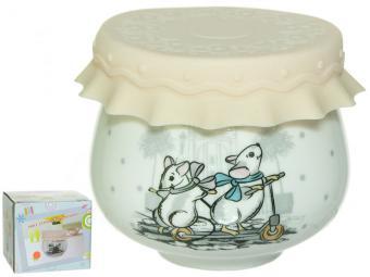 Баночка для меда и варенья с силиконовой крышкой Мышки 180мл