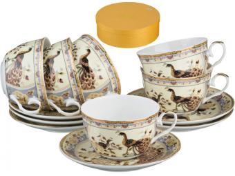 Чайный набор Павлин на бежевом 12пр 250мл