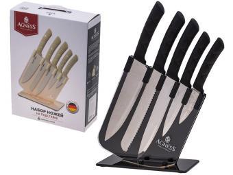 Набор ножей 6пр на пластиковой подставке Agness 541544