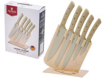 Набор ножей 6пр на пластиковой подставке Agness 541545