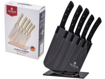 Набор ножей 6пр на пластиковой подставке Agness 541546