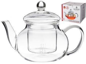 Чайник заварочный 600мл Agness со стеклянным фильтром 541623