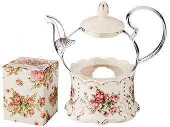 Чайник заварочный 600мл ''Корейская роза'' на подставке