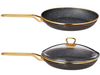 Сковорода 26см Тюдор с мраморным покрытием со стеклянной крышкой