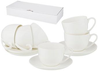 Чайный набор 12 предметов 330мл Silk белый без рисунка