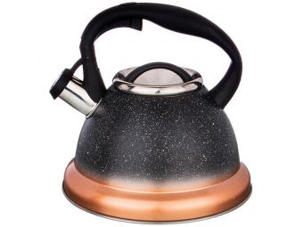 Чайник 3л нерж со свистком индукция Ночное небо с тонировкой