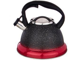 Чайник 3л нерж со свистком индукция с тонировкой Черно-красный