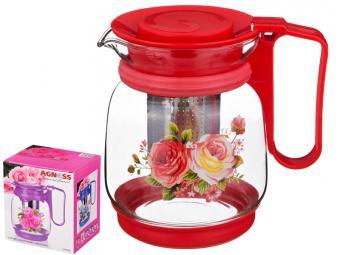 Чайник 1100мл с фильтром жаропрочное стекло Розы