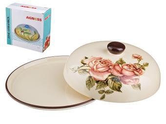 Блюдо для блинов с крышкой Корейская роза