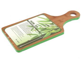 Доска разделочная бамбук 35*16см зеленый край