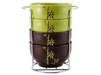 Набор салатников Бамбук 4 пр на метал подставке