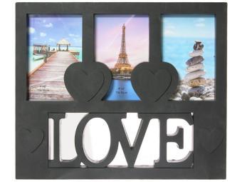 Фоторамка на 3 фото ''Love'' 10*15 пластик микс