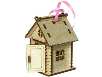 Фигурка деревянная Домик с подвесом 9*6*6см